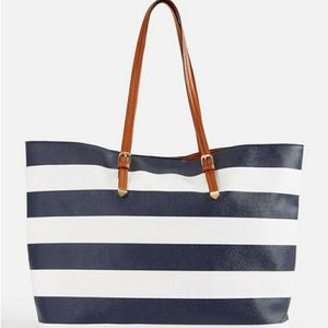 Navy and white stripe tote